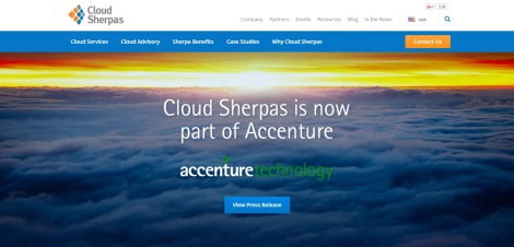 Screenshot of Cloud Sherpas website as of October 25, 2015.